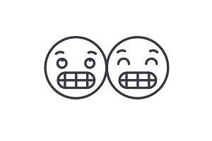 Grimacing Emoji concept line