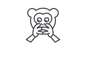 Hear No Evil Emoji concept line