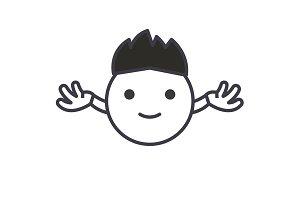 Hippy Emoji concept line editable