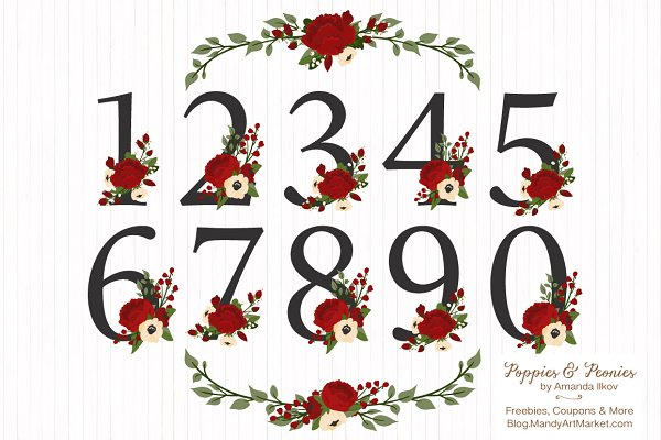 Christmas Floral Number Vectors