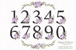 Lavender Floral Numbers Clip Art