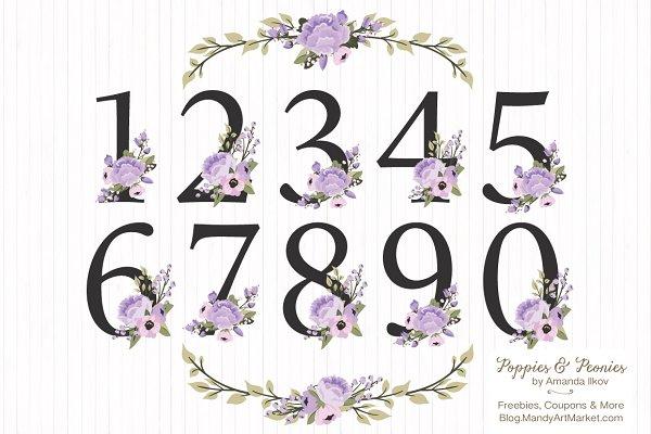 Lavender Floral Numbers Clip Art