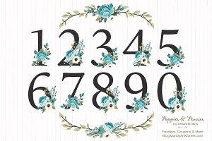 Vintage Blue Floral Numbers