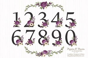 Plum Purple Floral Numbers Set