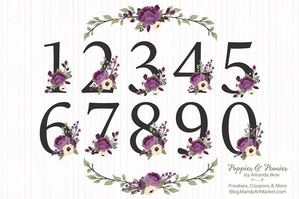 Plum Purple Floral Numbers Set