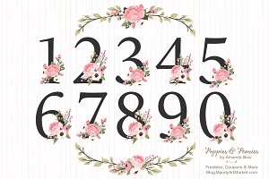 Soft Pink Floral Number Vectors