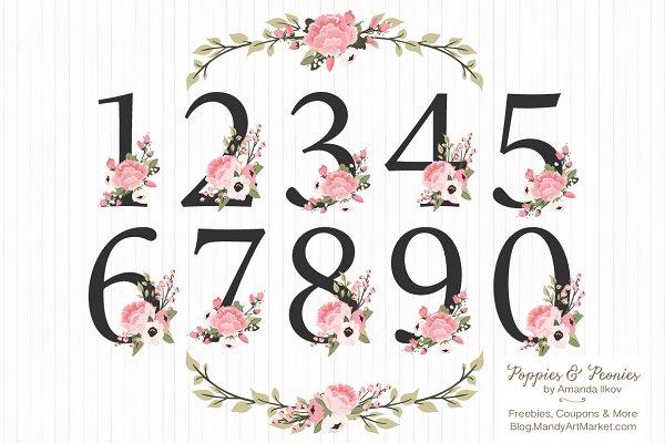 Soft Pink Floral Number Vectors