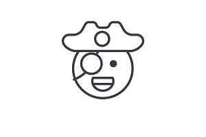 Pirate Emoji concept line editable