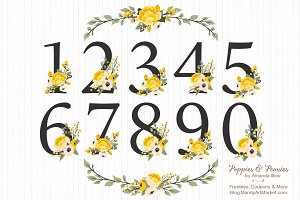 Sunshine Yellow Floral Numbers