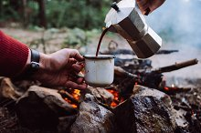 Making coffee process on the fire by  in Food & Drink