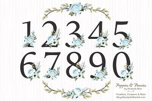 Soft Blue Floral Number Vectors
