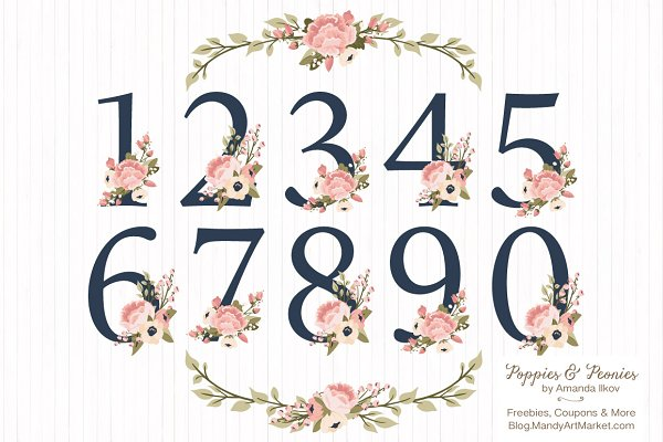 Navy & Blush Floral Numbers