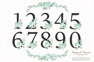 Mint Floral Numbers With Vectors