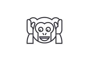 Speak No Evil Emoji concept line