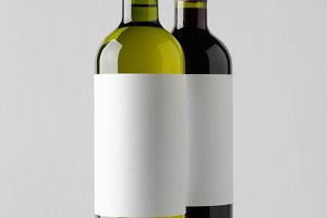 Wine Bottle Mock-Up - Two Bottles. B