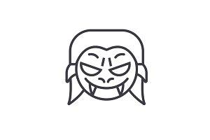 Vampire Emoji concept line editable