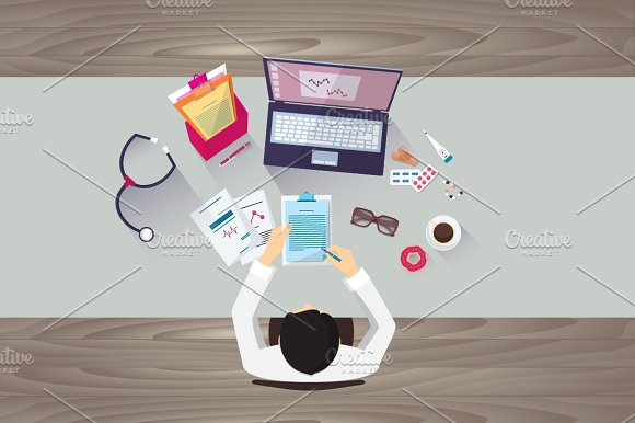Doctor workplace, vector eps 10