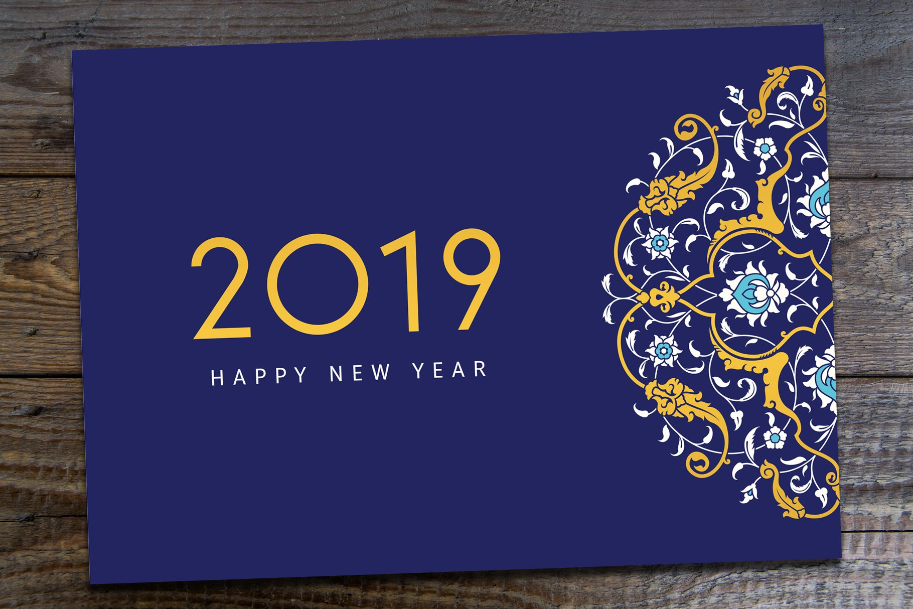 2019 new year greeting card  creative illustrator