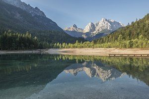 Morning reflections of the mountains