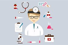 Set of colorful vector medical icons
