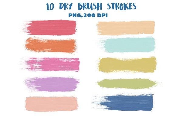 dry brush strokes clip art web elements creative market