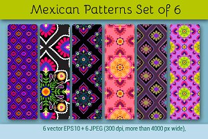 Mexican Patterns, set of 6.