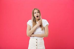 Surprised teenage student girl show