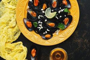 Black pasta spaghetti with seafood