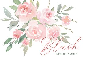 Pink Blush Watercolor Flowers Roses