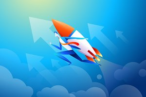 Businessman flying on rocket, graph
