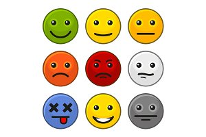 Customer Feedback Smile Icons Set