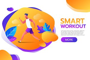 Smart Workout. Young man running or