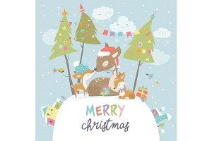Cute Cartoon Deer family. Merry