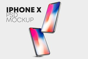 10 iPhone X PSD Mockup Set