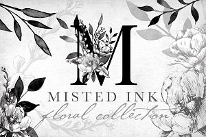 Misted Ink Floral Collection