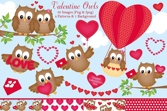 Valentine S Day Owl Clipart Illustrations Creative Market