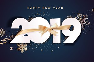 New Year 2019 Business Greeting Card