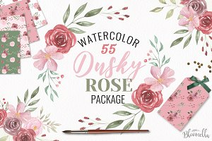 Rose Pink Red Watercolor Florals Set