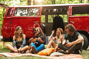 Group of friends hippies men and wom