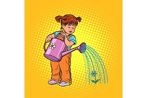Girl watering can watering a flower