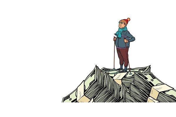 skier, Money dollars mountaintop