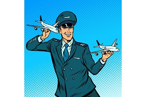 male airplane pilot. Model aircraft