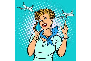 stewardess at the airport talking on