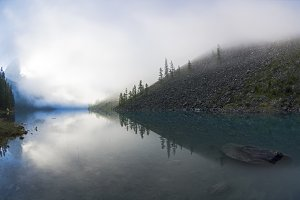 Reflection of the shore of the lake