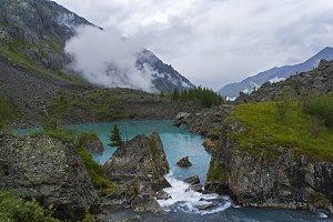 Upper Shavlo lake. Altai Mountains.