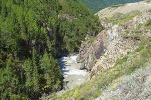 The Chuya River in a narrow canyon.