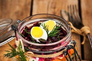 Russian layered betroot salad