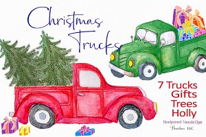 Red Truck Clipart, watercolor