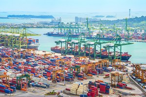 Singapore cargo shipping port harbor