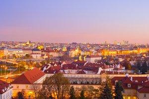 skyline  Prague twilight Czech city